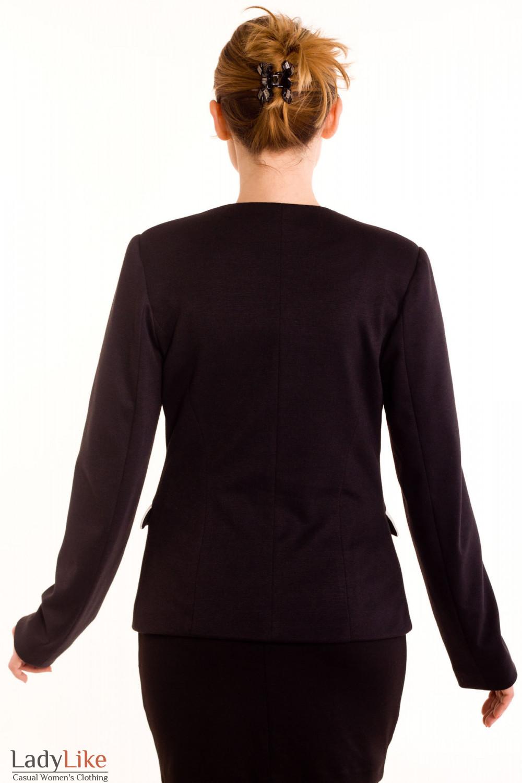 Фото Жакет черный трикотажный с белыми вставками.Вид сзадиДеловая женская одежда
