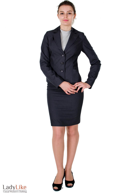 Фото Жакет графитовый с карманами  Деловая женская одежда