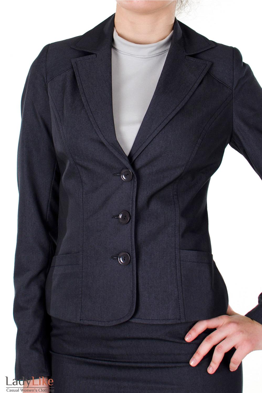 Фото Жакет графитовый с карманами вид спереди Деловая женская одежда