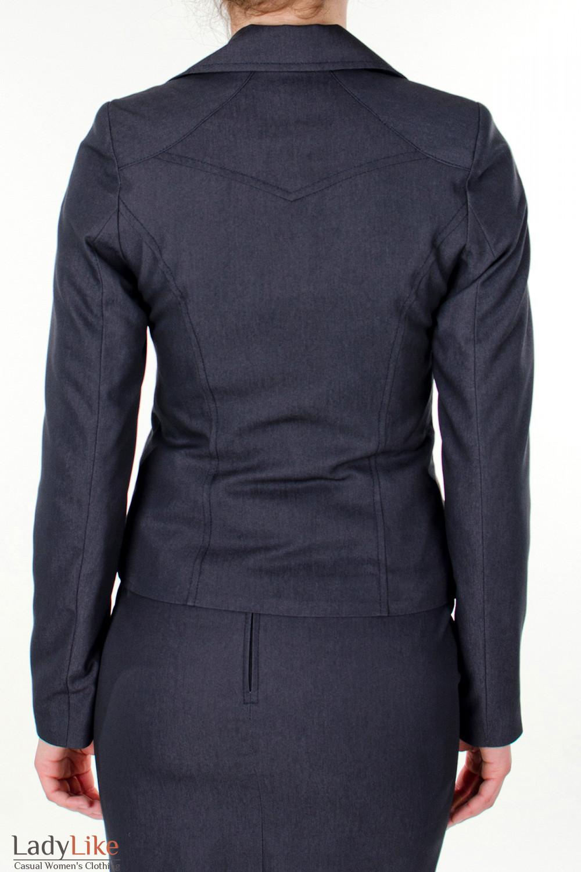 Фото Жакет графитовый с карманами вид сзади Деловая женская одежда