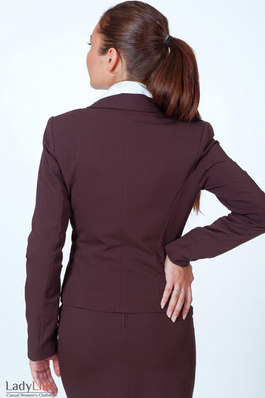 Фото Жакет классический коричневый вид сзади Деловая женская одежда