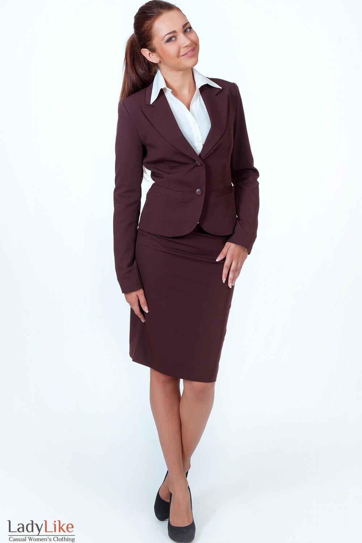 Фото Жакет классический коричневый вид спереди Деловая женская одежда