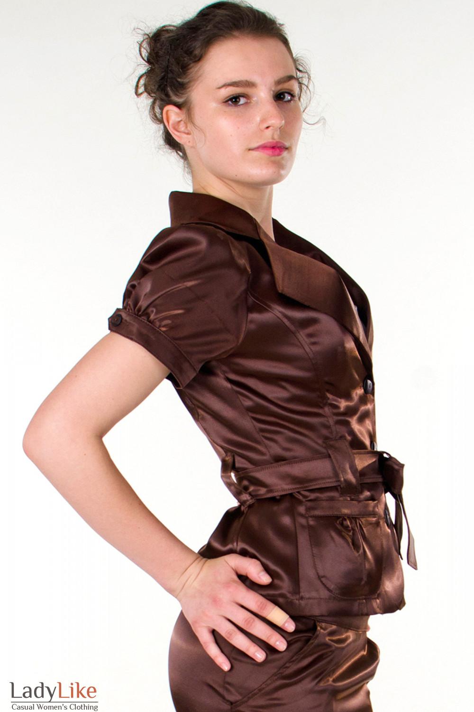 Фото Жакет коричневый с поясом вид справа Деловая женская одежда
