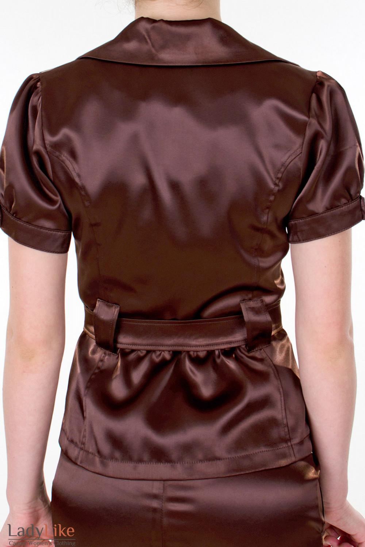 Фото Жакет коричневый с поясом вид сзади Деловая женская одежда