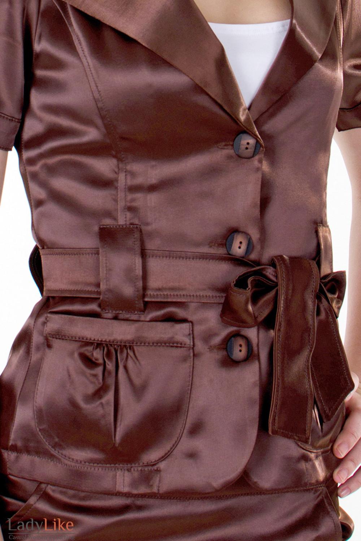 Фото Жакет коричневый с поясом вид спереди Деловая женская одежда
