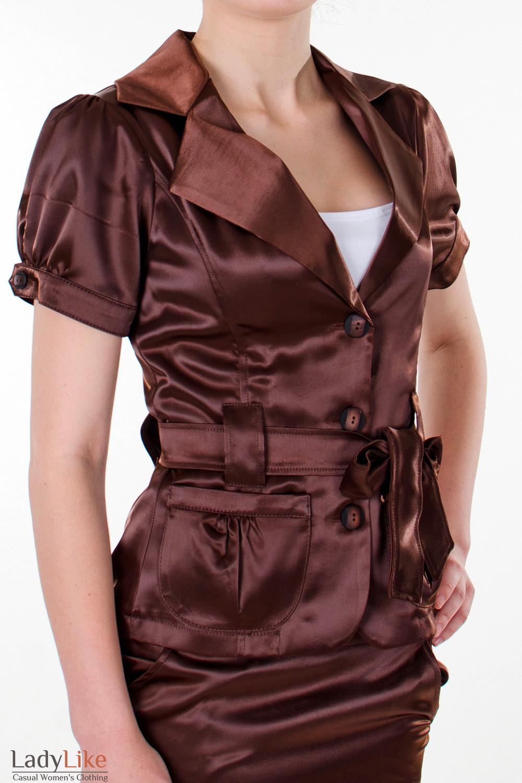 Фото Жакет коричневый с поясом вид сбоку Деловая женская одежда