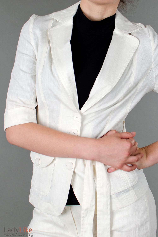 Фото Жакет льняной молочный с коротким рукавом вид 1 Деловая женская одежда