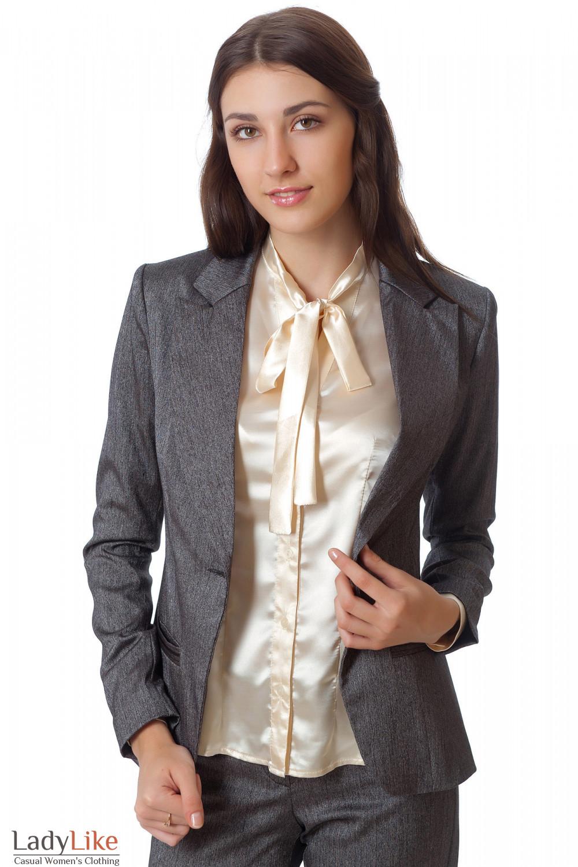 Фото Жакет серый удлиненный в елочку Деловая женская одежда