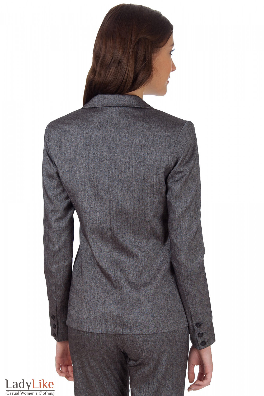 Фото Жакет серый удлиненный в елочку вид сзади Деловая женская одежда