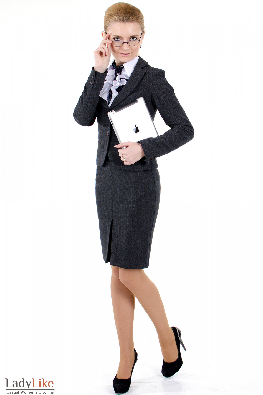 Фото 1 Жакет серый в клетку Деловая женская одежда