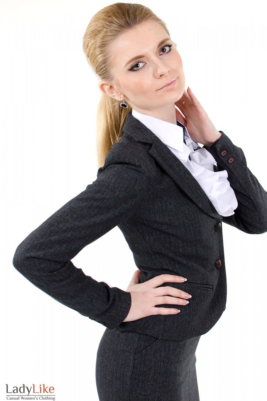 Фото 3 Жакет серый в клетку Деловая женская одежда