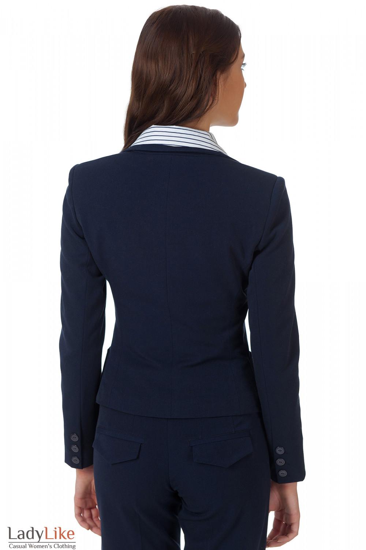 Фото Жакет синий классический теплый вид сзади Деловая женская одежда