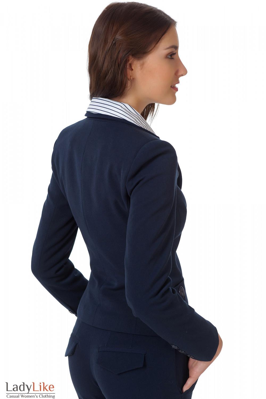 Фото Жакет синий классический теплый вид сбоку Деловая женская одежда