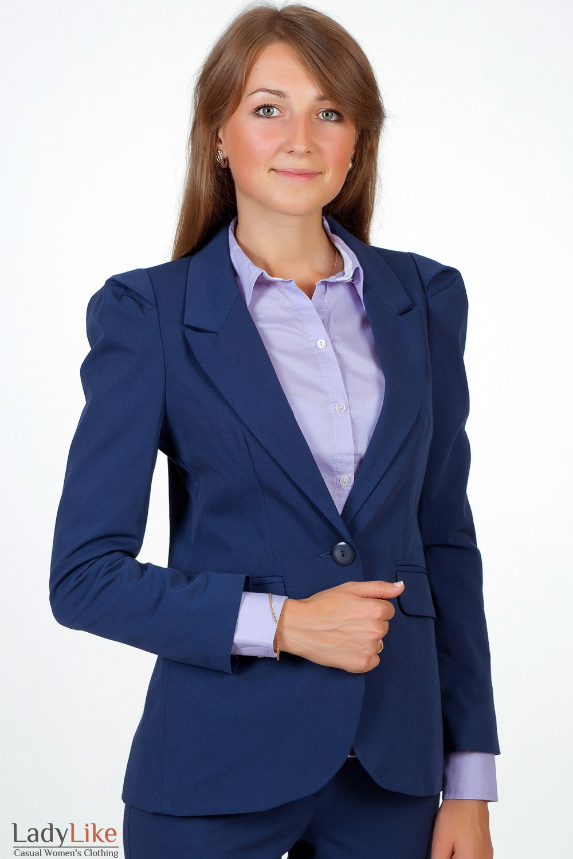 Фото Жакет синий удлиненный Деловая женская одежда