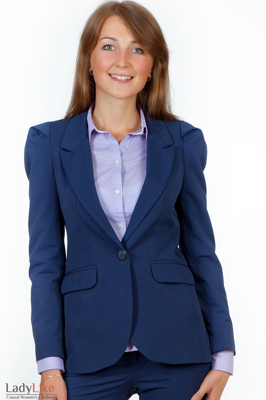 Фото Жакет синий удлиненный вид спереди Деловая женская одежда