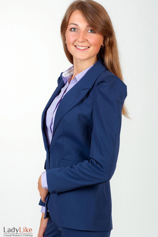 Фото Жакет синий удлиненный вид сбоку Деловая женская одежда