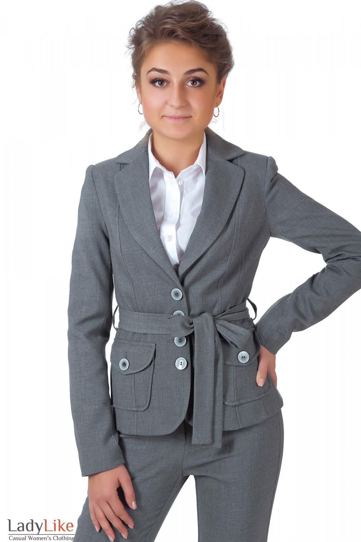 Фото Жакет теплый серый с поясом Деловая женская одежда