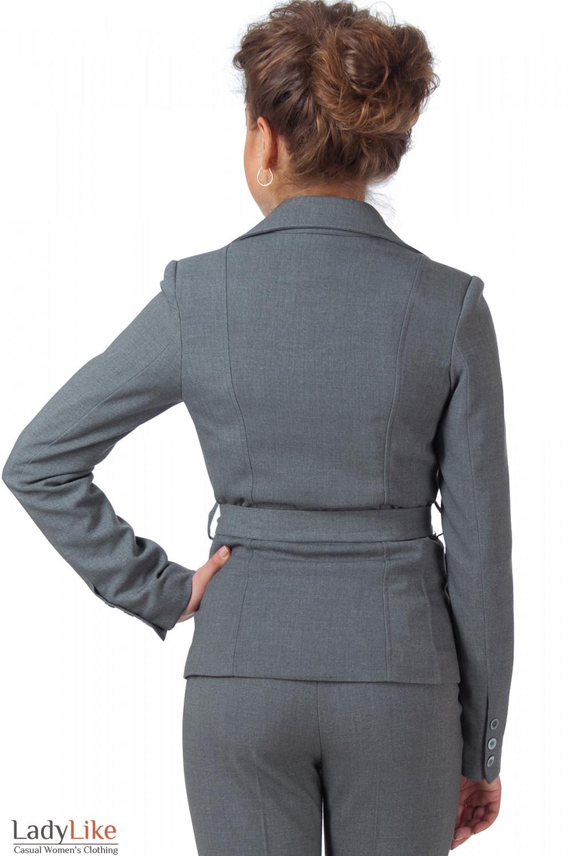 Фото Жакет теплый серый с поясом вид сзади Деловая женская одежда