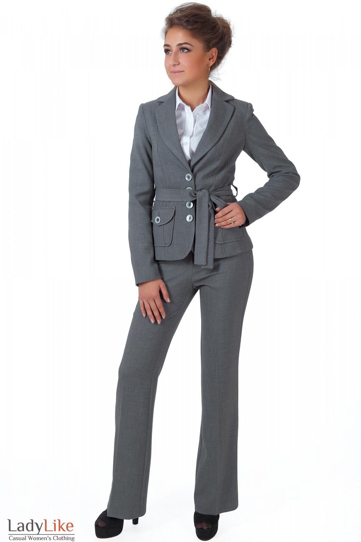 Фото Жакет теплый серый с брюками Деловая женская одежда