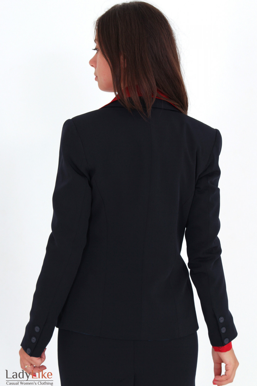 Фото Жакет удлиненный темно-синий вид сзади Деловая женская одежда