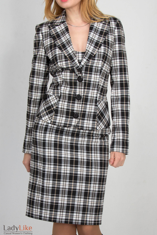 Фото Жакет в бежево-черную клетку Деловая женская одежда
