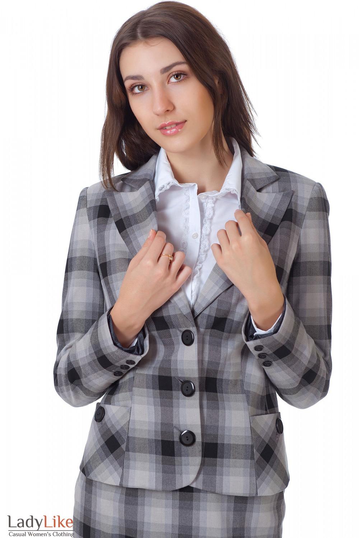 Фото Жакет в серую клетку вид спереди Деловая женская одежда