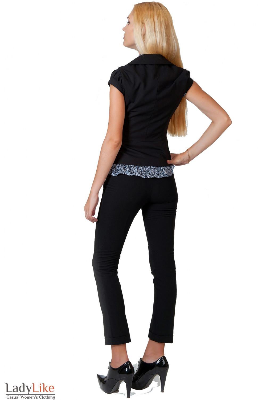 Фото Жилетка черная с круглым вырезом вид сзади Деловая женская одежда