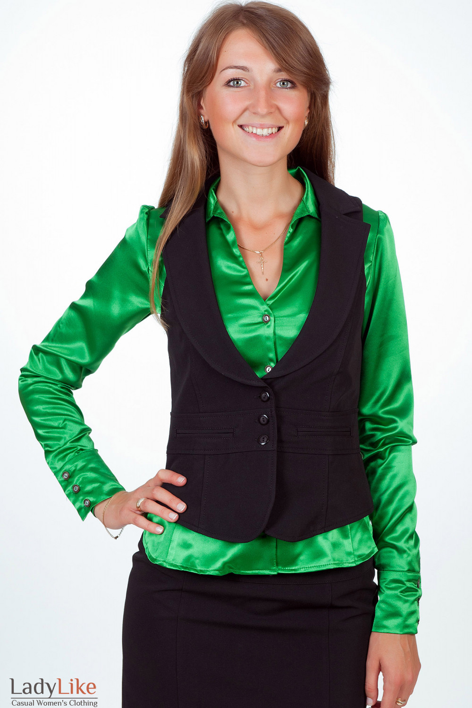 Фото Жилетка черная с воротником Деловая женская одежда