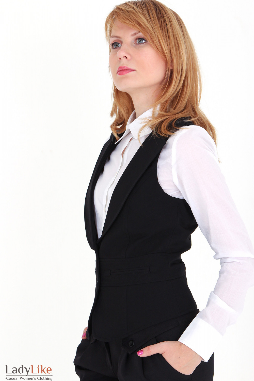 Фото Жилетка черная с воротником вид сбоку Деловая женская одежда