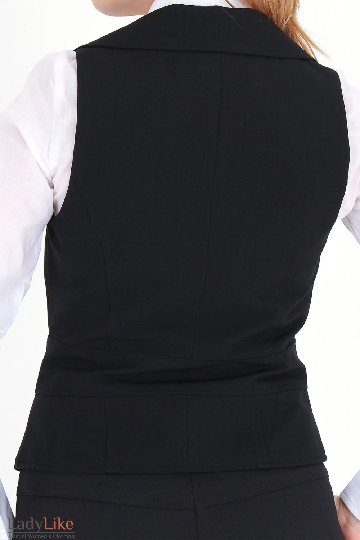 Фото Жилетка черная с воротником вид сзади Деловая женская одежда