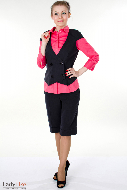 Фото Жилетка графитовая вид спереди Деловая женская одежда