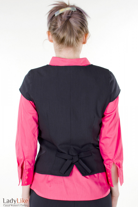 Фото Жилетка графитовая вид сзади Деловая женская одежда