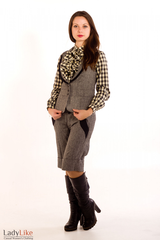 Фото Жилетка из черно-белого твида. Вид спереди Деловая женская одежда