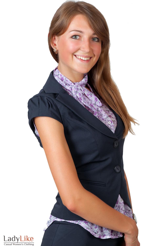 Фото Жилетка синяя с круглым вырезом вид сбоку Деловая женская одежда