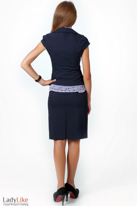 Фото Жилетка синяя с круглым вырезом вид сзади Деловая женская одежда