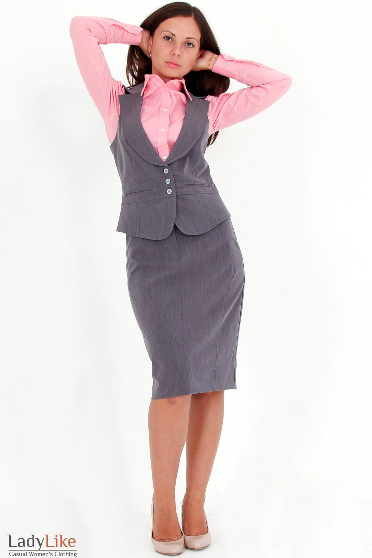 Фото Жилетка темно-серая Деловая женская одежда