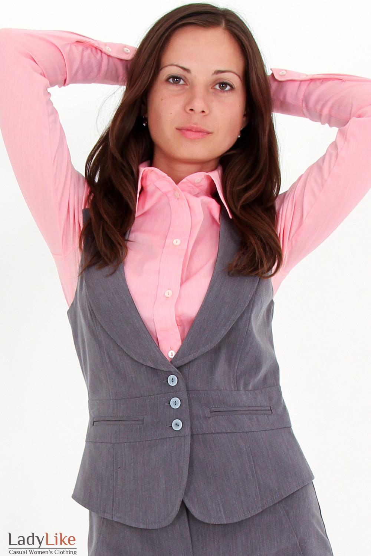 Фото Жилетка темно-серая вид спереди Деловая женская одежда