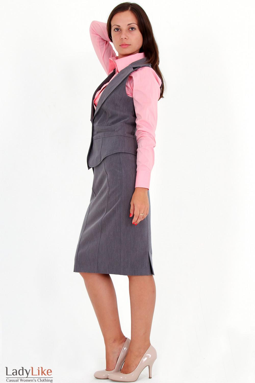 Фото Жилетка темно-серая вид сбоку Деловая женская одежда