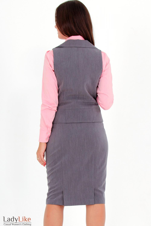 Фото Жилетка темно-серая вид сзади Деловая женская одежда