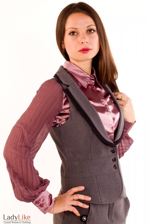 Фото Жилетка темно-серая с воротником. Вид сбоку Деловая женская одежда