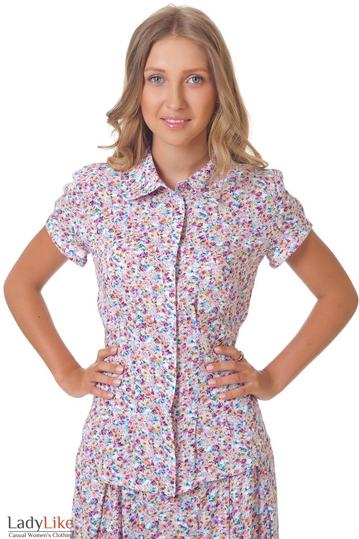 Блуза в мелкий сиреневый цветочек Деловая женская одежда