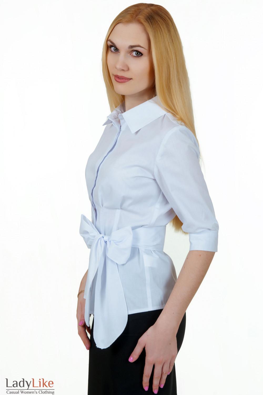 Купить белую приталенную блузку Деловая женская одежда