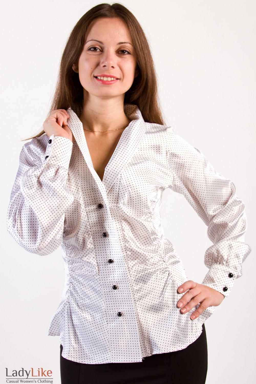 Фото Блузка белая в черный горошек Деловая женская одежда