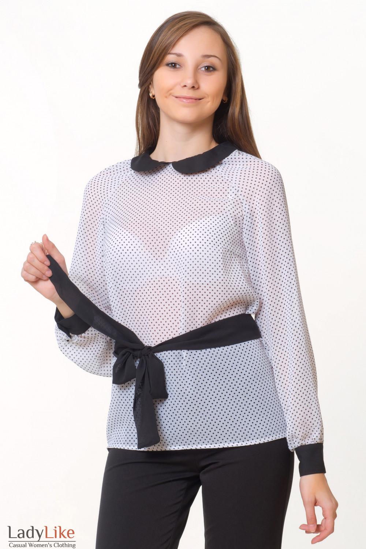 Блузка с черным воротником с доставкой