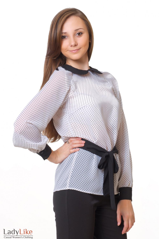 Купить блузку в черный горошек Деловая женская одежда