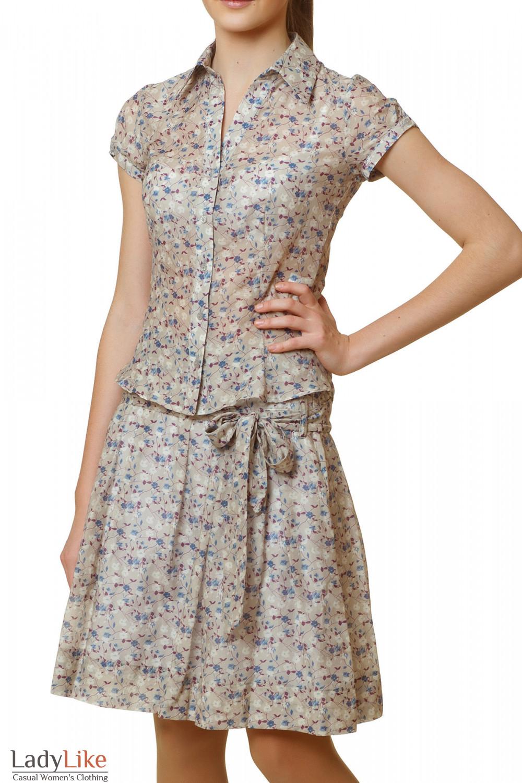 Купить блузку бежевую в синий цветочек Деловая женская одежда