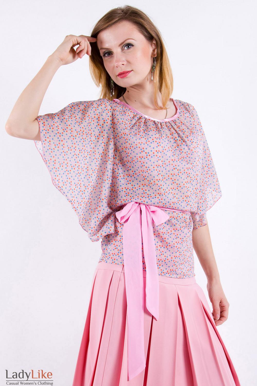 Фото Блузка из хлопка в горошек Деловая женская одежда