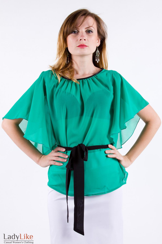 Фото Блузка с рукавом летучая мышь Деловая женская одежда