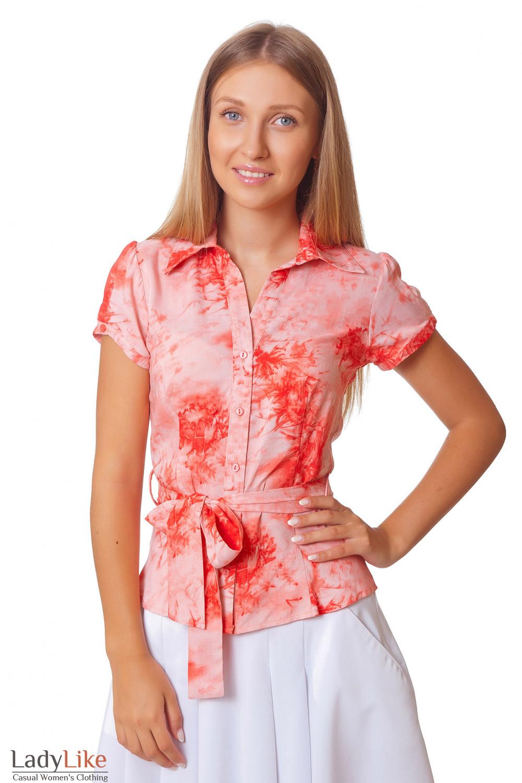 Блузка коралловая с коротким рукавом Деловая женская одежда