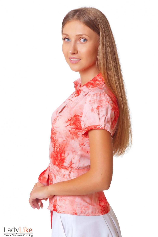 Летняя коралловая блузка Деловая женская одежда